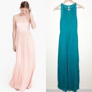 J. Crew Megan Teal Silk Chiffon Illusion Dress EUC